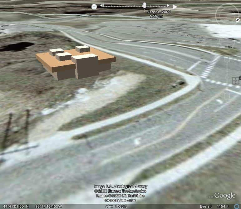 Building Mass Sketch Placed on Google Earth Site