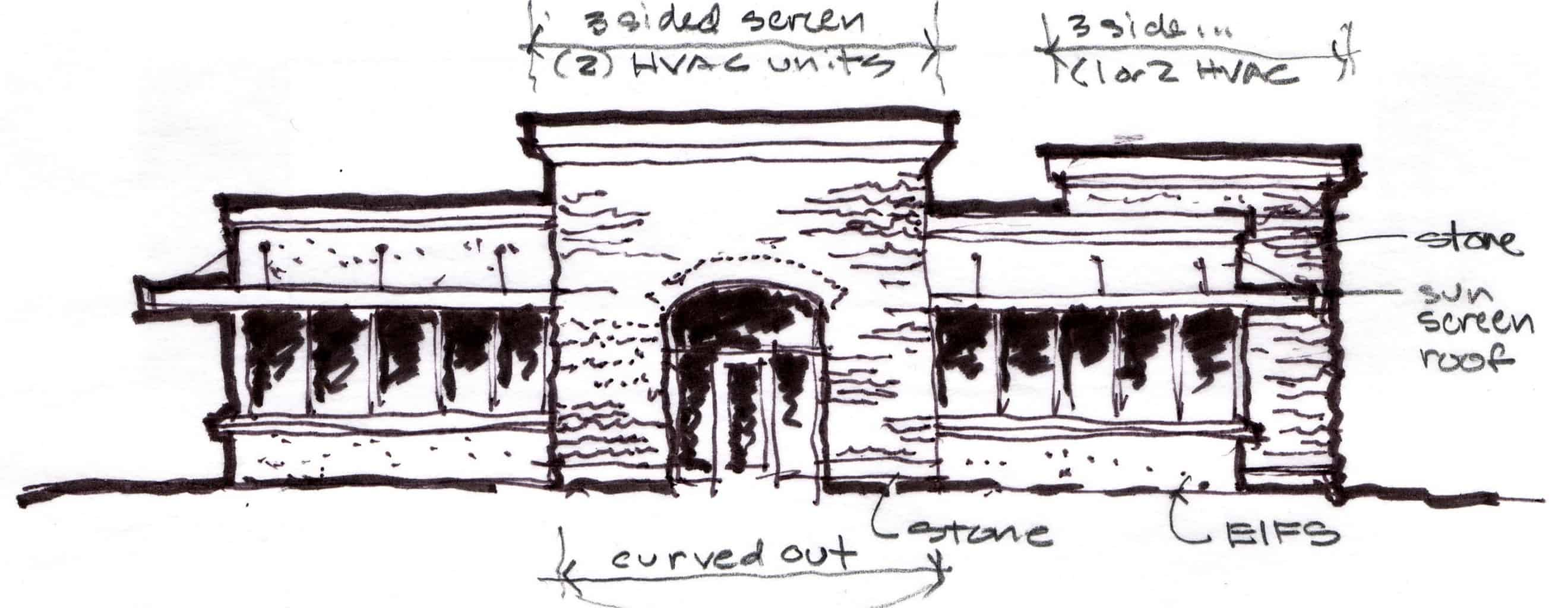 Initial Sketch of Front Elevation